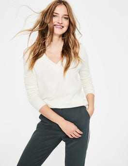Ivory Cashmere Relaxed V-neck Jumper