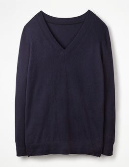 Navy Cashmere Relaxed VNeck Sweater