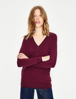 Mulled Wine Cashmere Relaxed VNeck Sweater