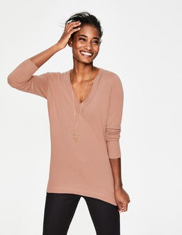 Antique Pink Cashmere Relaxed V-neck Jumper