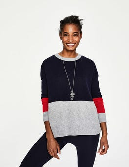 Navy Colourblock Lowick Jumper