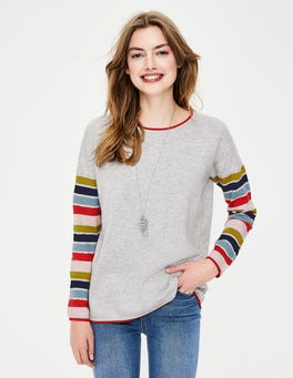 Grey Melange/Stripe Berwick Sweater