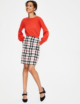 Pink and Melon Crush Check British Tweed Mini Skirt
