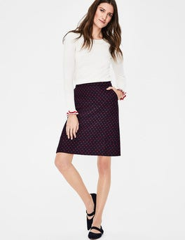 Navy with Post Box Red Spot British Tweed Mini Skirt
