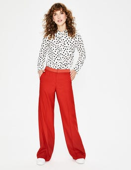 Post Box Red Marlin Wide Leg Trousers
