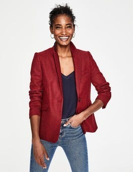Red Herringbone Bath British Tweed Blazer