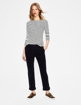 Navy Cord Straight Leg Trousers