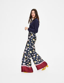 Navy Painted Peony Weybourne Wideleg Trousers