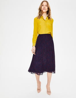 Navy with Mulled Wine Spot Serena Midi Skirt