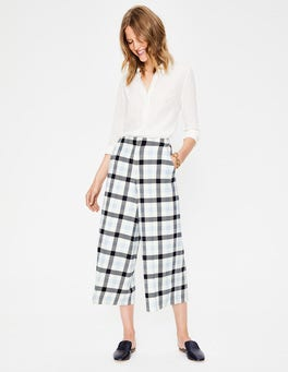 Ivory, Navy and Breeze Check British Tweed Culottes