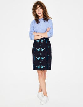 Navy Tilda Embroidered Skirt