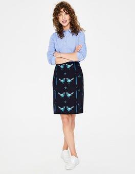 Navy Tilda Embroidered Skirt