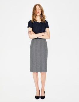 Navy Herringbone Freya Pencil Skirt