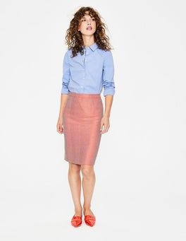 Orange Herringbone Freya Pencil Skirt