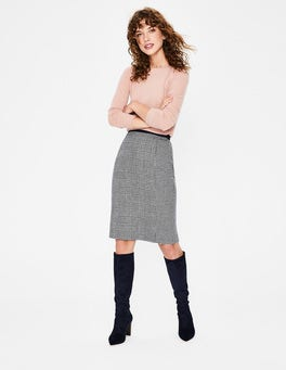 Navy and Ivory Prince of Wales British Tweed Pencil Skirt