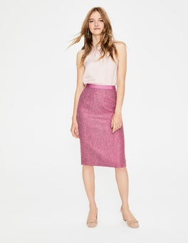 Amaranth/Grey Herringbone British Tweed Pencil Skirt