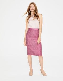 Amaranth/Grey Herringbone British Tweed Pencil Skirt