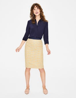 Hot Mustard Windmill British Tweed Pencil Skirt