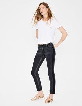 Gewaschenes Schwarz, Seitenstreifen Cavendish Girlfriend-Jeans