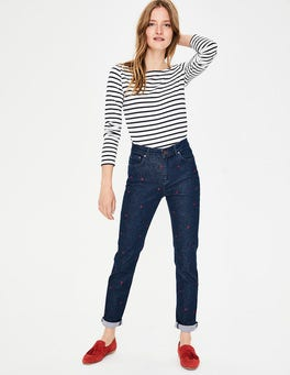 Embroidered Jean Cavendish Girlfriend Jeans