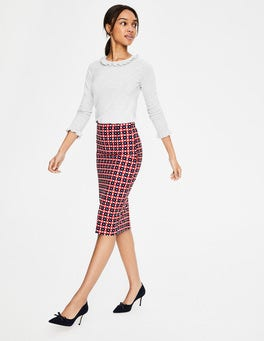 Red and Blue Geo Richmond Pencil Skirt
