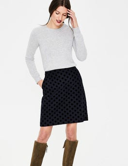 Navy W/ Black Flocked Spot Flocked Spot Mini Skirt