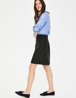 Khaki W/ Navy Flocked Spot Flocked Spot Mini Skirt