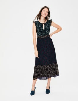 Navy Scattered Spot Laura Ruffle Dress