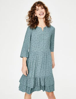 Heritage Blue Flying Birds Relaxed Tiered Hem Shirt Dress
