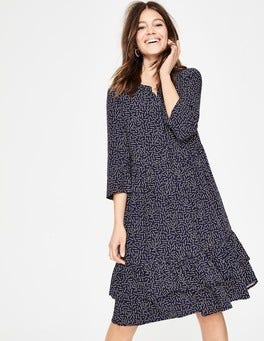 Navy Arrows Relaxed Tiered Hem Shirt Dress