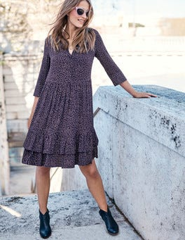 Relaxed Tiered Hem Shirt Dress