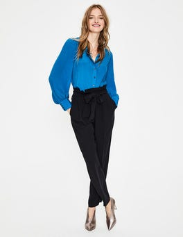 Cyan Blouson Sleeve Silk Shirt