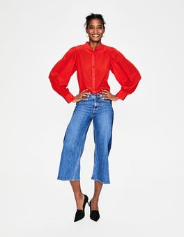 Post Box Red Blouson Sleeve Silk Shirt