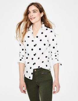 Ivory, Navy Spot Modern Classic Shirt
