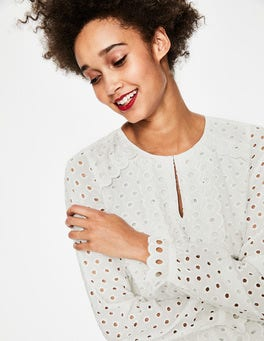 Ivory Scallop Broderie Top