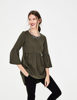 Khaki Green Curved Seam Top