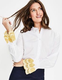 White Bronwen Broderie Shirt