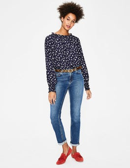 Navy, Blossom Small Sadie Silk Top
