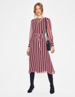 Mulled Wine Milkshake Stripe Alba Midi Dress