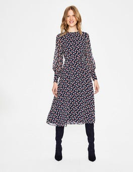 Navy Clover Spot Alba Midi Dress