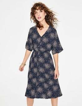 Navy Milkshake Flower Burst Truro Dress