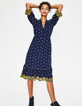 French Navy with Hot Mustard Bronwen Broderie Dress
