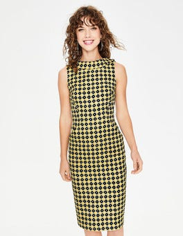 English Mustard Spotty Trellis Seam Detail Martha Dress