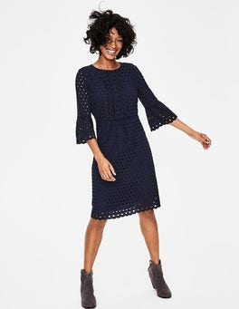 French Navy Scallop Broderie Dress