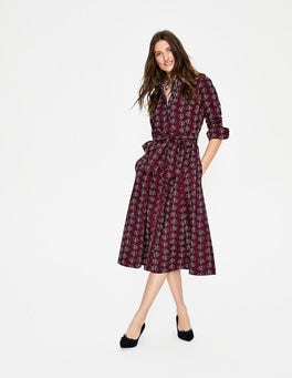 Mulled Wine Climbing Vine Roseland Shirt Dress