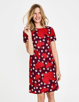 Mulled Wine Starry Bird Easy Shift Dress