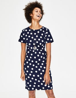 Navy and Ivory Scattered Spot Easy Shift Dress
