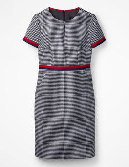 Navy and Ivory Puppytooth Adelaide Tweed Dress