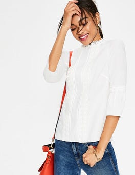 Ivory Lace Pintuck top