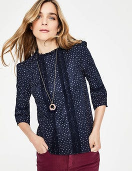 Navy, Dotty Spot Lace Pintuck top